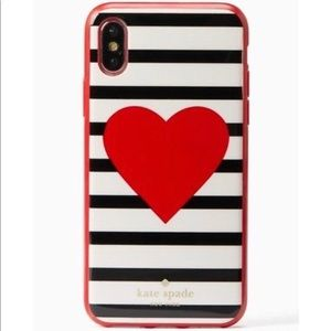 NWT Kate Spade Heart Stripe iPhone X Case